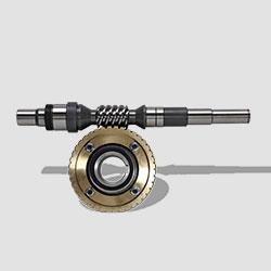 Schneckenwelle mit Schneckenrad für Maschinenantrieb